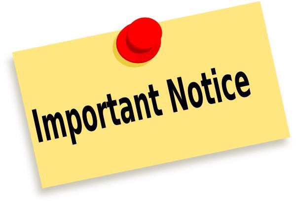yellow post it note with a red pin saying important notice
